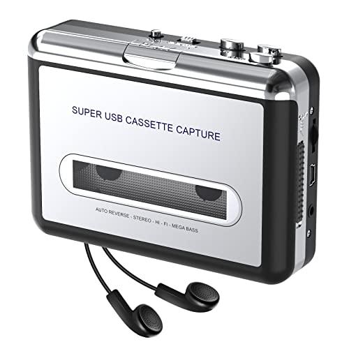 DIGITNOW! Draagbare cassettespeler / cassette naar mp3-converter Leg cassetteband vast op MP3 / CD-audio via USB