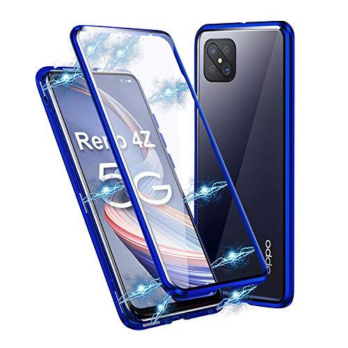 Ellmi Oppo Reno 4Z 5G Hoesje, Magnetische adsorptie Metal Bumper Frame Flip Cover met 360 graden Dubbele kanten Transparent Gehard glas Hoesje voor Oppo Reno 4Z 5G, Blauw