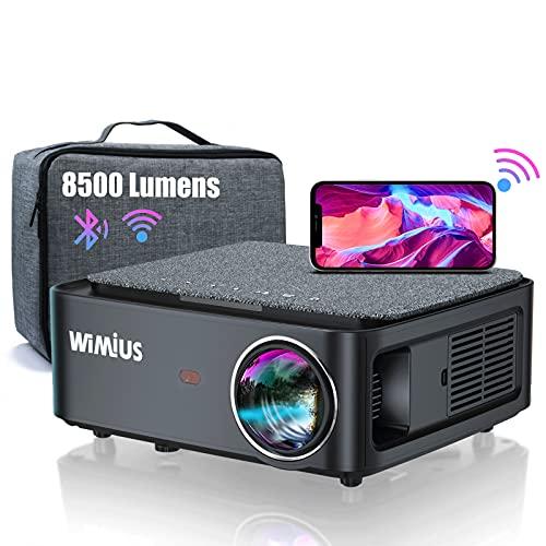 Beamer, Full HD 1080P 8500 lumen beamer 5G WiFi Bluetooth beamer ondersteuning 4K video, LED home theater video beamer 300 inch display, compatibel met Fire Stick, smartphone, PS5 projector