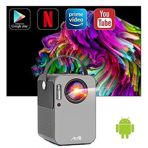 Beamer Smart Android, Artlii Play Pro WiFi Bluetooth Projector, Mini Beamer 1080p Full HD Ondersteund, Stereo Sound, 4D±45° Correctie, Home Cinema Mini Projector met Netflix, YouTube, Prime Video