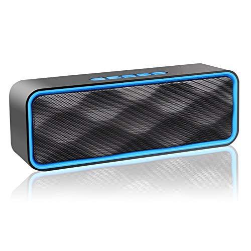 Aigoss Bluetooth luidspreker, V4.2 draagbare stereo draadloze luidspreker met geïntegreerde dubbele driver en handsfree, HD audio en FM-radio, blauw