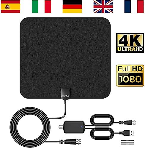 KafooStore TV-antenne voor binnen, krachtig, perforerend, voor ontvangst van TNT, signaalversterker, 1080p, 4K, coaxkabel 4 m VHF UHF FM TNT