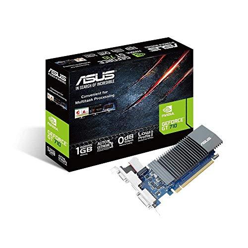 ASUS NVIDIA GeForce GT 710 Silent Grafische kaart, 1 GB DDR5 geheugen, 0 dB koeling, DVI, VGA, HDMI)
