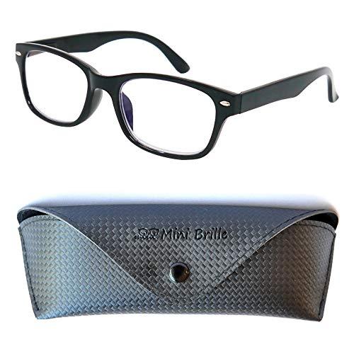 Stijlvolle Blauwlichtfilter met Transparante Lenzen, GRATIS Brillenkoker, Plastic Montuur (Zwart), Leesbril en Computerbril Vrouwen en Mannen +1.5 Dioptrie