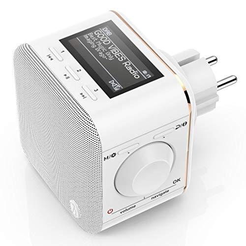 Hama 00054871 digitale radio voor het stopcontact (DAB/DAB+/FM/Bluetooth/AUX, geïntegreerd. radiowekker, verlicht display) stopcontactradio, DR40BT-plugin