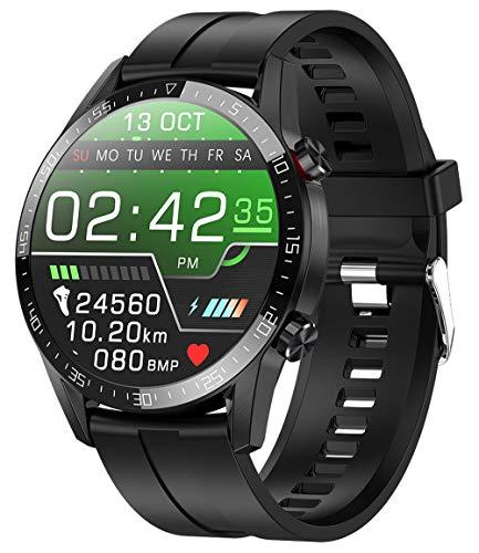 jpantech Smartwatch voor mannen, Fitness Trackers Met Ontvangen/Make Call,46mm | ECG monitoring tracker hartslagmeter stappenteller bloeddrukmeting IOS/Android (Zwart)
