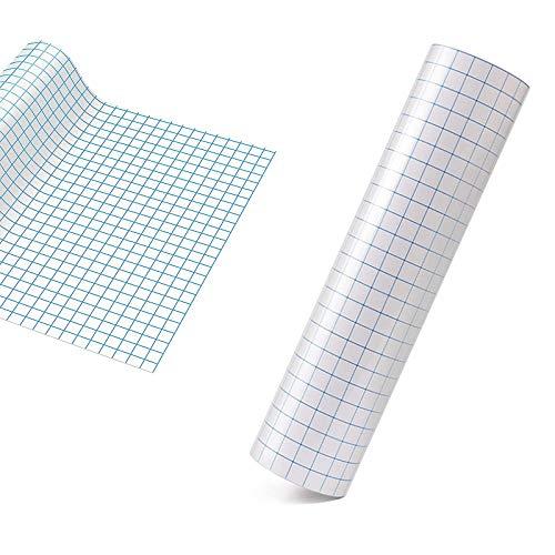 Transferfolie plotter - 30 * 500cm met blauwe uitlijningsrooster-overdrachtfolie plotter, doorzichtige transferband voor vinylpapier, voor aftrekplaatjes, borden, ramen en stickers
