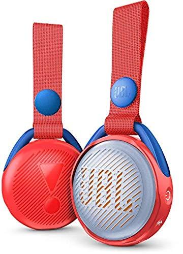 JBL JR Pop Mini-Boombox voor kinderen, rood, popiger, waterdichte bluetooth-luidspreker met ingebouwde lichtmotieven, tot 5 uur muziek luisteren met slechts één batterijlading
