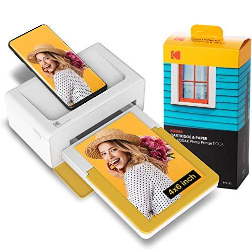 Kodak PD460 Dock Plus Draagbare Instant-Fotoprinter, Compatibel met iOS-, Android- en Bluetooth-Apparaten, Full Color Real Photo (10 x 15 cm), 4Pass-Technologie en Lamineerproces, Premiumkwaliteit - Handig en Praktisch - 80 Vel Bundel, Wit