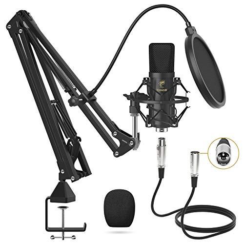 TONOR XLR Condensatormicrofoon, professionele cardioïde studiomicrofoon, met T20 Boom Arm, Shock Mount, Pop Filter voor opname, Voice Over, Streaming, Home Studio, YouTube (TC20)