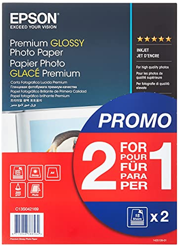 Epson Premium Glossy Fotopapier Inkjet, C13S042169, 255g/m2 A4 2x15 vel Pack Single 30 Sheets, Wit