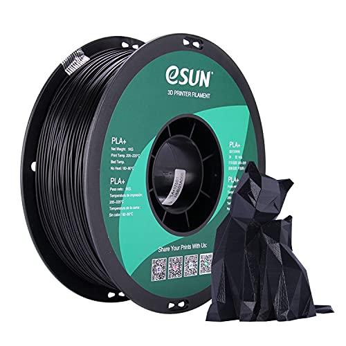 eSUN PLA+ Gloeidraad 1.75mm, PLA Plus 3D Printer Gloeidraad, Dimensionale Nauwkeurigheid +/- 0.03mm, 1KG (2.2 LBS) Spoel 3D Printen Materiaal voor 3D Printer, Zwart