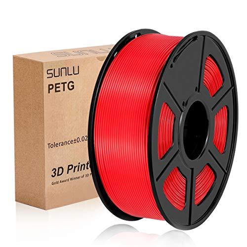 SUNLU 3D Printer Filament Red PETG, Red PETG Filament 1.75 mm SUNLU,Low Odor Dimensional Accuracy +/- 0.02 mm 3D Printing Filament,2.2 LBS (1KG) Spool 3D Printer Filament,Red PETG