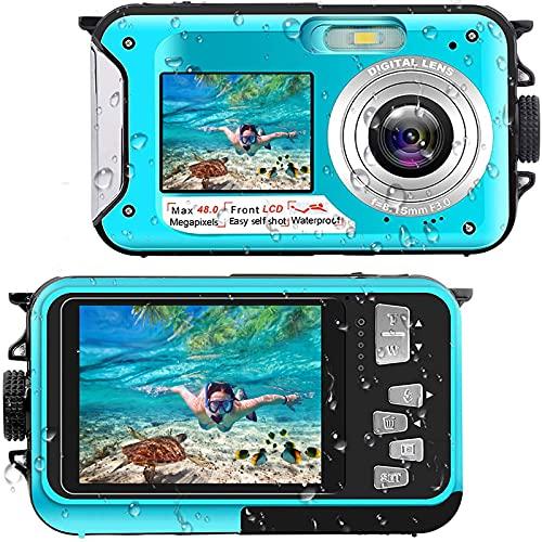 Onderwatercamera, Full HD, 2,7 K, 48 MP, 10 ft camera, waterdicht, dual scherm, 16 x digitale zoom, snorkelen, waterdichte digitale camera voor zelfontspanner, onderwater, zwemmen, vakantie