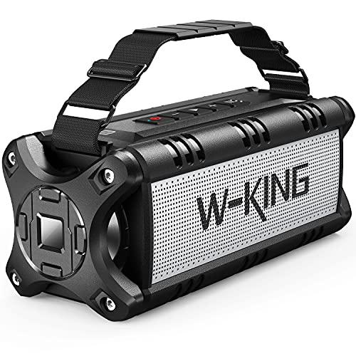 W-KING 50 W (70 W top) Bluetooth-luidspreker, IPX6 waterdicht, 24 uur looptijd, 8000 mAh powerbank, 30 meter bereik, draagbare Bluetooth speakerbox, luidspreker, muziekbox met NFC TF-kaart