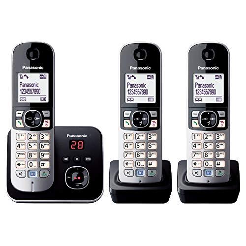 Panasonic Kx-Tg6824Ga Dect Draadloze Telefoon Met Antwoordapparaat, 3 Telefoons, Zwart