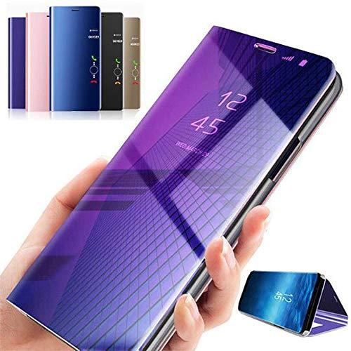 Hnourishy Nieuwste gegalvaniseerde intelligente spiegelstandplaats geval mobiele telefoon bovenste deel slag cover slaap smartphone blauw perple - donkerblauw paars - 1 maat