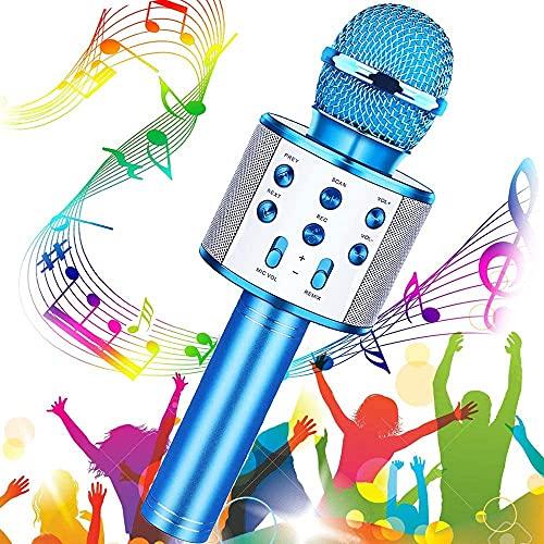 SunTop Karaoke microfoon Bluetooth met 5W luidspreker, draadloze microfoon met dubbele functie voor kinderen en volwassenen, compatibel met Android/IOS/PC laptop